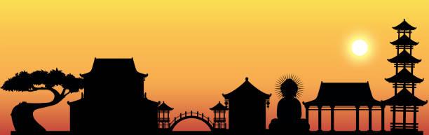 silhouette-szene mit buddha-statue und tempel - gartenskulpturkunst stock-grafiken, -clipart, -cartoons und -symbole