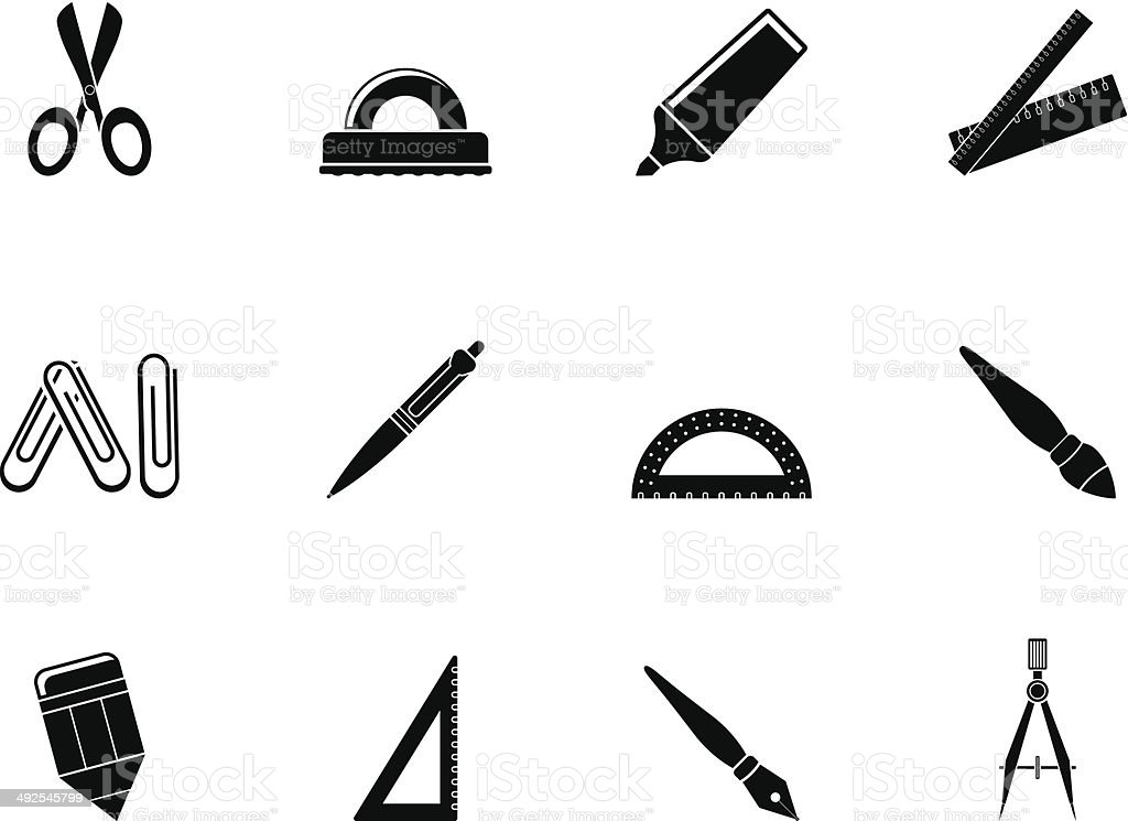 Silhouette school and office tools icons royalty-free silhouette school and office tools icons stock vector art & more images of art