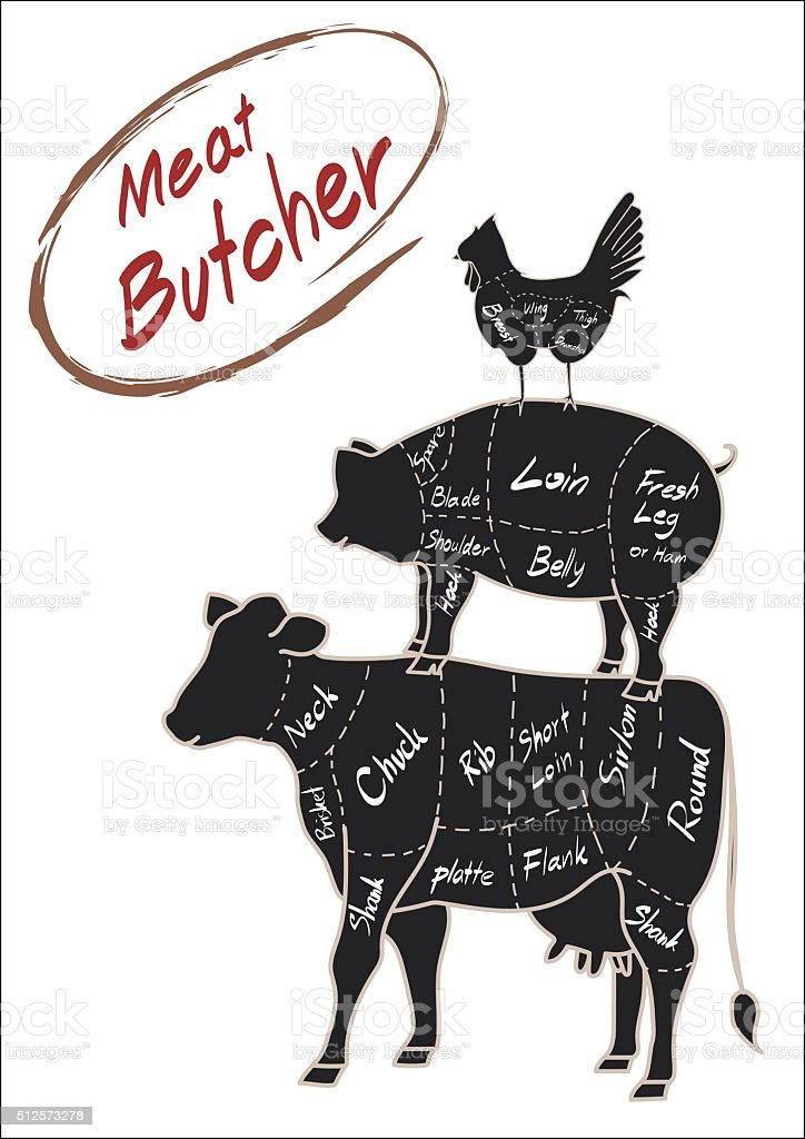 Silhouette Set Farm Animal Cow Pig Chicken With Name