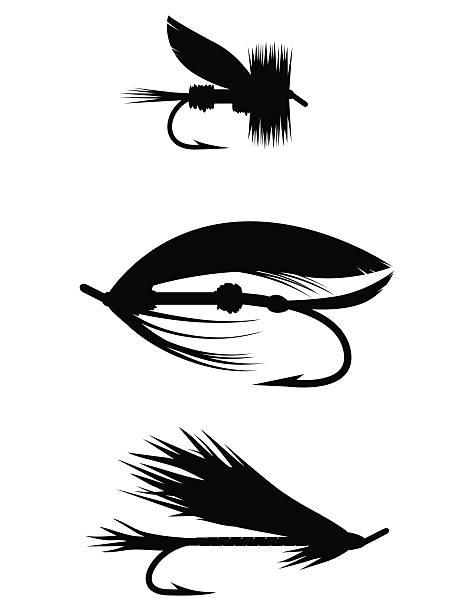 silhouette set-köder fürs fliegenfischen - angelhaken stock-grafiken, -clipart, -cartoons und -symbole