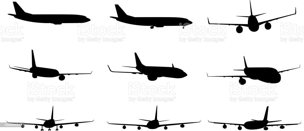 Silhouette set of airplane in different angles royalty-free stock vector art