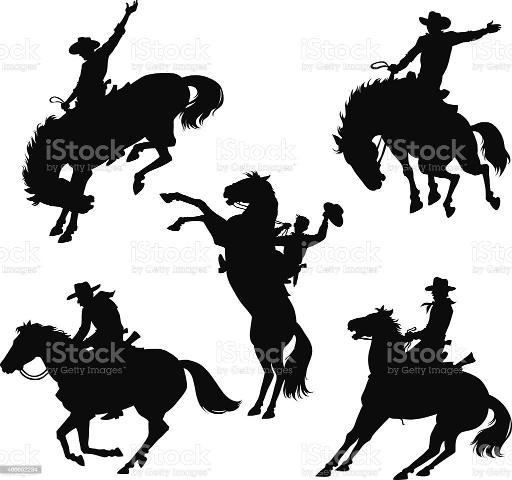 silhouette set of cowboys and horses in wild west stock