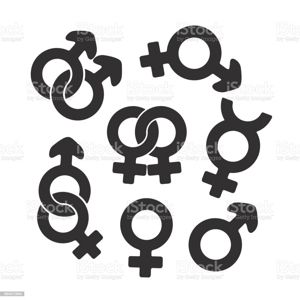 Silhouette Set Of Gender Symbols Stock Vector Art & More Images of ...