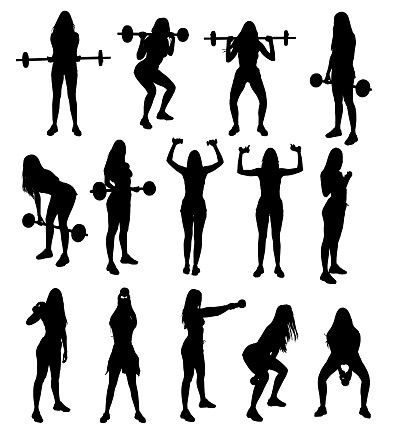 Silhouette set of gym fitness weight lifting exercises young attractive woman