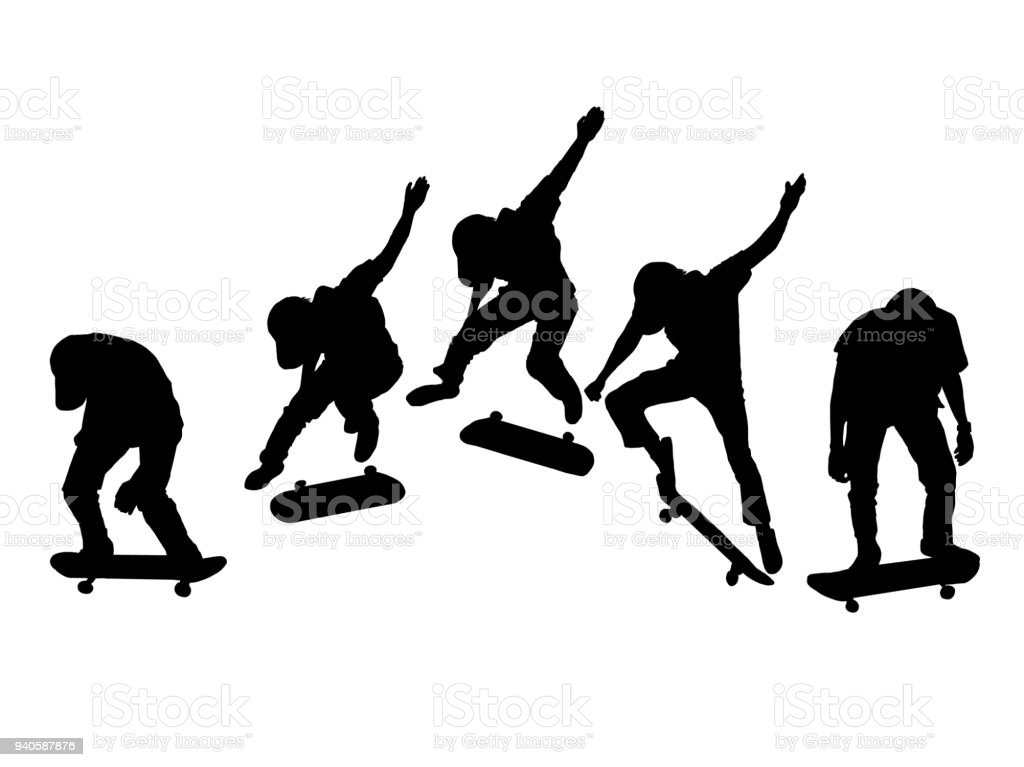 silhouette set of men skateboard on white background vector art illustration