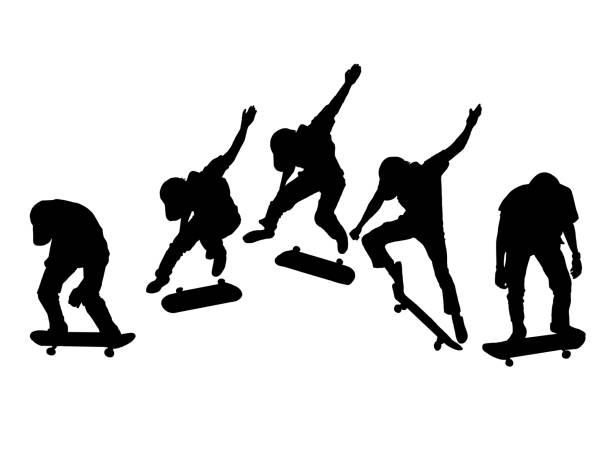 シルエットは、白い背景の上の男性のスケート ボードの設定 - スケートボード点のイラスト素材/クリップアート素材/マンガ素材/アイコン素材