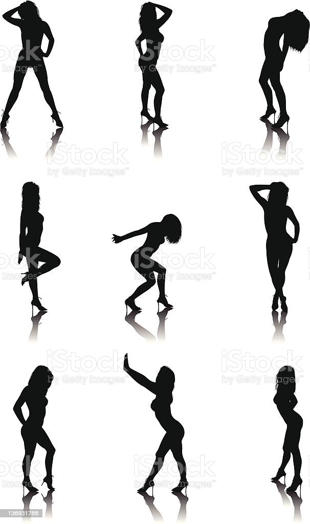silhouette sexy girl part one vector art illustration