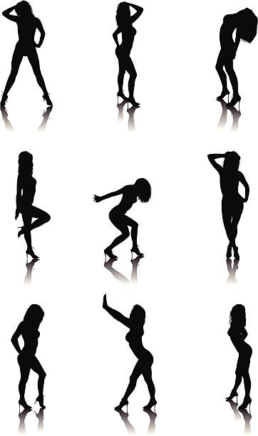 silhouette sexy girl part one Vector illustration of sexy girl's silhouettes. Large JPEG included. sensuality stock illustrations
