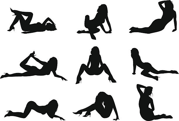 silhouette sexy girl part two Vector illustration of sexy girl's silhouettes posing. sensuality stock illustrations