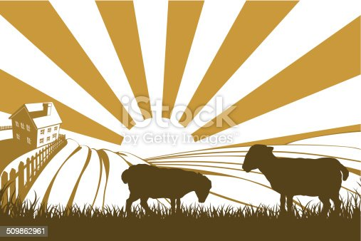 An illustration of a silhouette lamb or sheep in a field on a farm with sunrise and farmhouse in the background