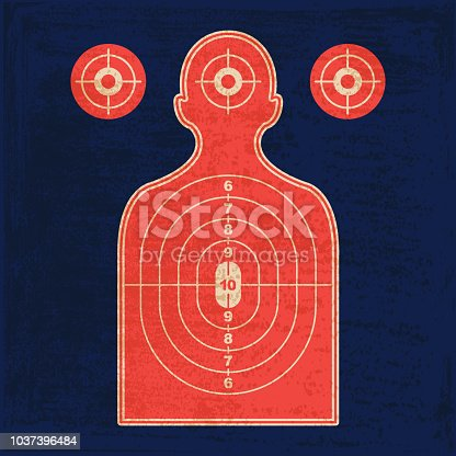 Vector of silhouette shooting range human shooting target with grunge texture. EPS Ai10 file format.