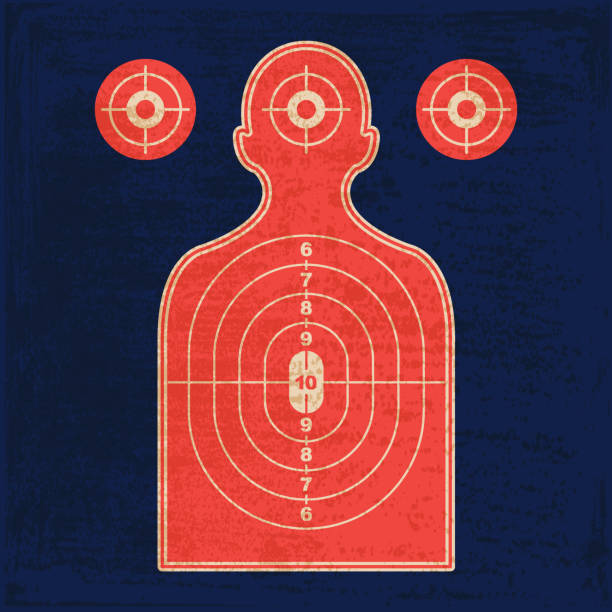 stockillustraties, clipart, cartoons en iconen met silhouet schieten bereik pistool target - gun shooting