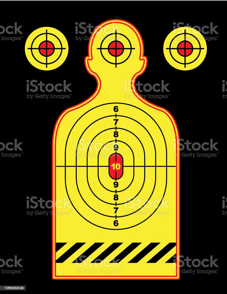 Vector of silhouette shooting range human shooting target background....