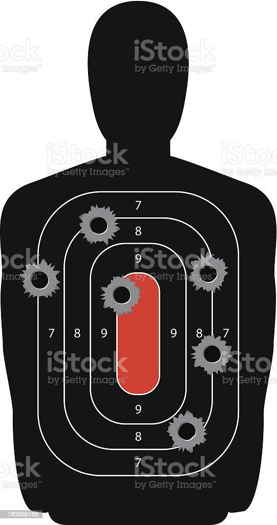 Silhouette Shooting Range Gun Target with Bullet Holes vector art illustration