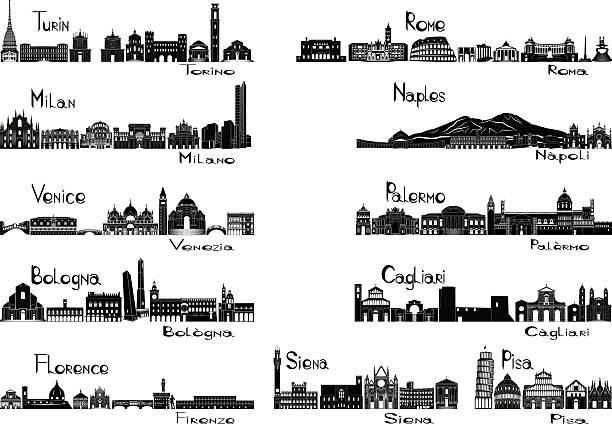illustrazioni stock, clip art, cartoni animati e icone di tendenza di signts sagoma delle 11 città d'italia - sardegna