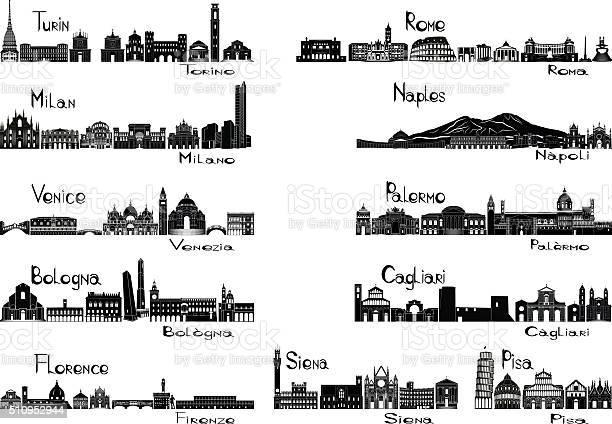 Signts Sagoma Delle 11 Città Ditalia - Immagini vettoriali stock e altre immagini di Architettura