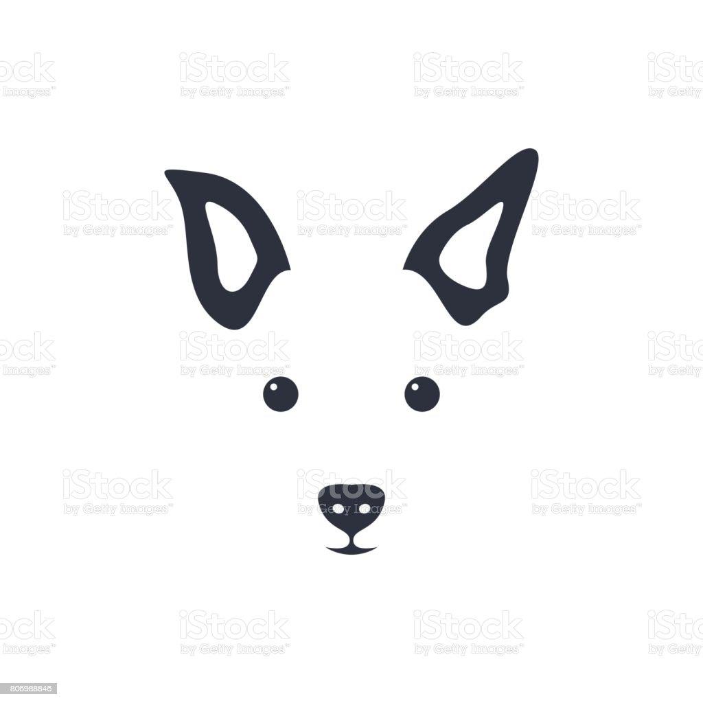 Silhouette simple head dog. Vector illustration. vector art illustration