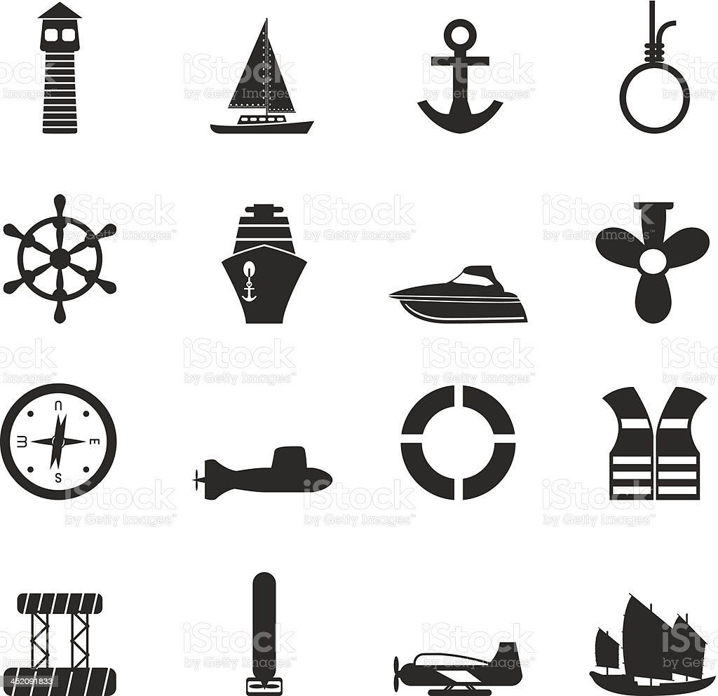 Silhouette Simple Marine, Sailing and Sea Icons royalty-free stock vector art