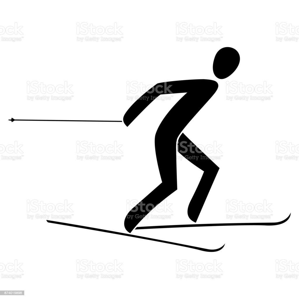Silhouette skiathlon athlete race skiing running isolated.Winter...