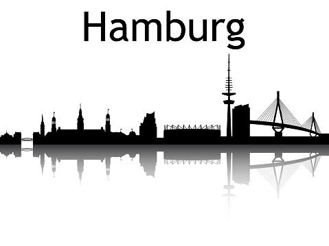 Silhouette Skyline of Hamburg