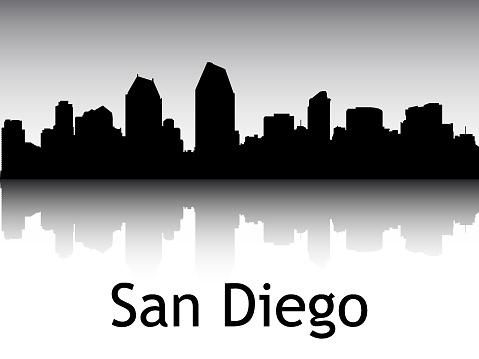 Silhouette Skyline Panorama of San Diego California