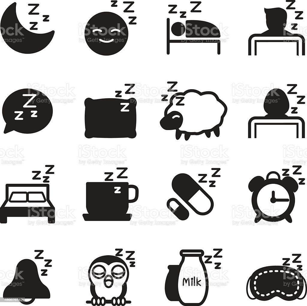 Silhouette Sleep  icons Set vector art illustration