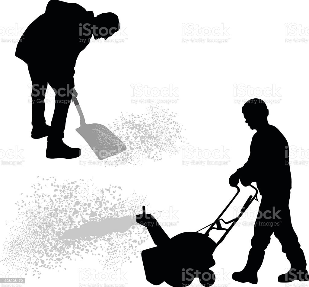 Silhouette Snowblower And Shovelling Snow vector art illustration