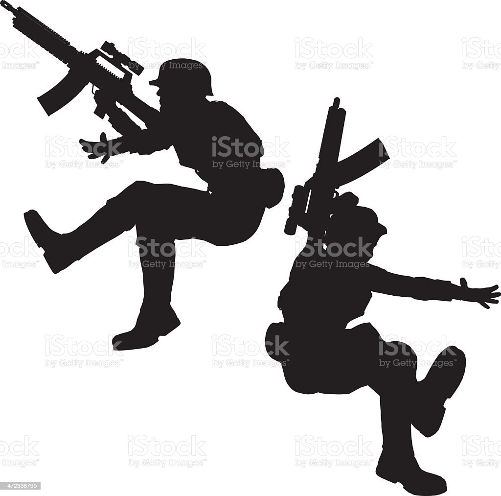 Silhouette soldier[Jump!] royalty-free silhouette soldierjump stock vector art & more images of adult