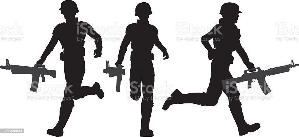 Silhouette soldier[Running] royalty-free stock vector art