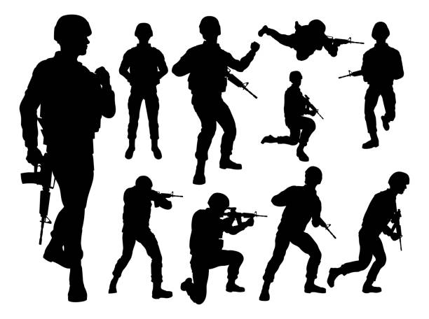 silhouette soldiers - army soldier stock illustrations, clip art, cartoons, & icons