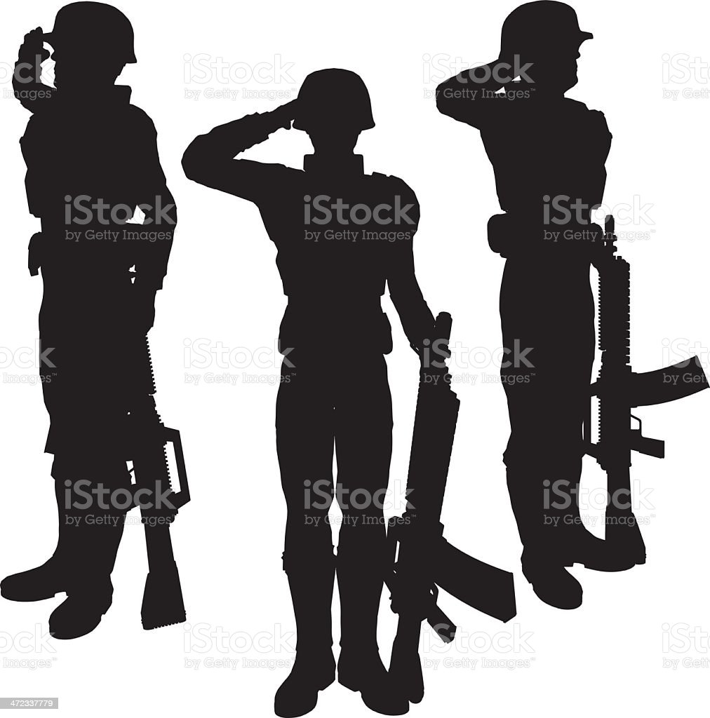 Silhouette soldier[Salute] royalty-free silhouette soldiersalute stock vector art & more images of adult