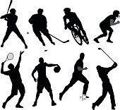 Vector illustration of various men's silhouette playing a variety of sports: baseball, hockey, cycling, american football, a tennis serve, basketball, soccer and a golf swing.