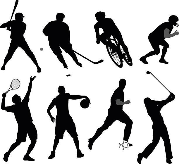 stockillustraties, clipart, cartoons en iconen met silhouette sport variety - sportman