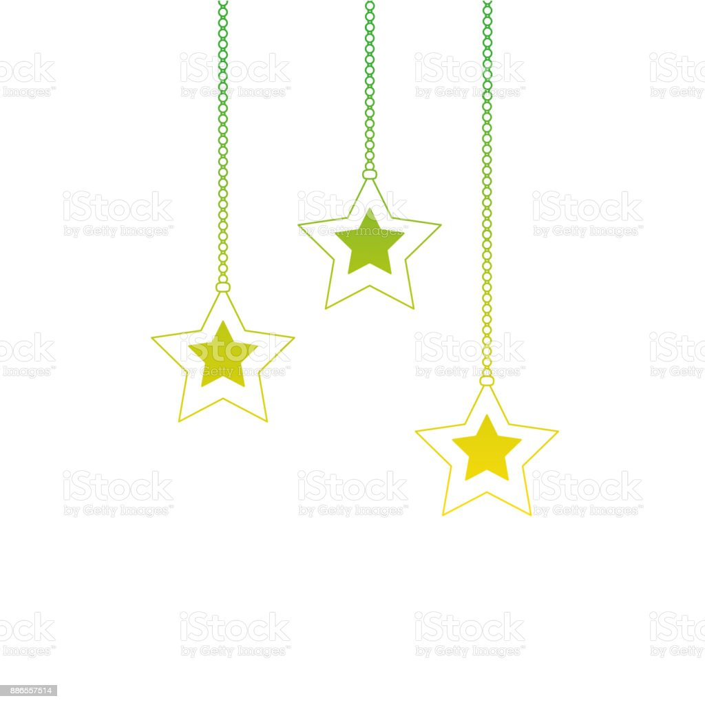 Hanging Christmas Ornaments Silhouette.Silhouette Star Hanging To Mery Christmas Decoration Stock