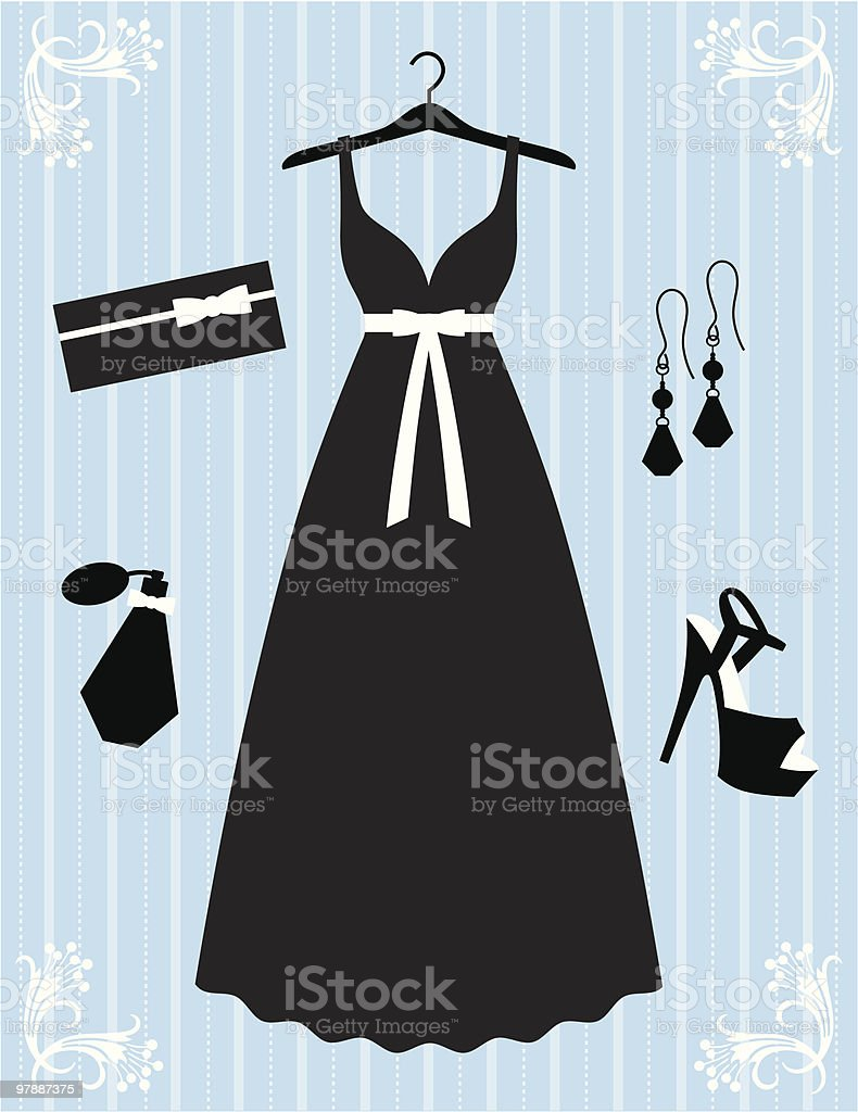 Silhouette style black dress and accessories vector art illustration