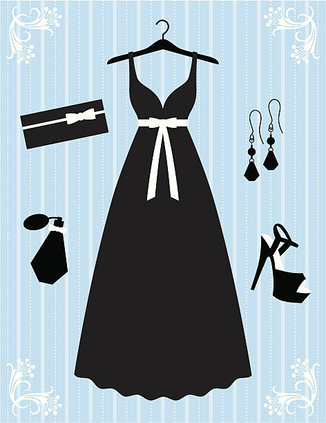 silhouette style black dress and accessories - prom fashion stock illustrations, clip art, cartoons, & icons