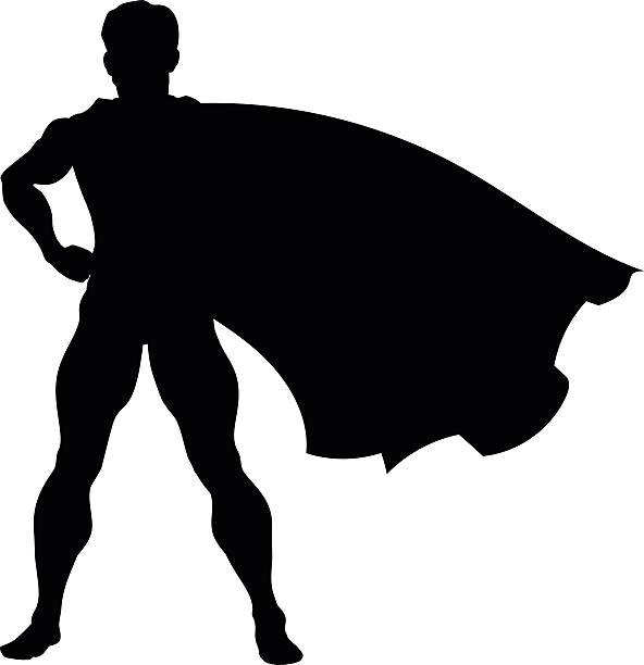 bildbanksillustrationer, clip art samt tecknat material och ikoner med silhouette superhero - superhjälte isolated