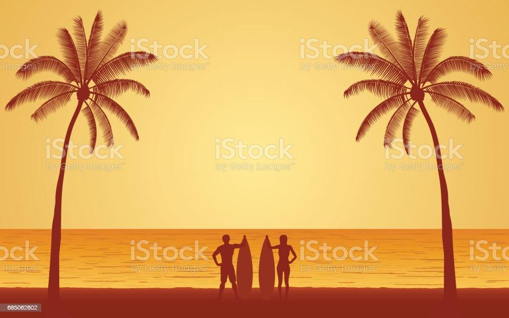 Silhouette surfer carrying surfboard on beach under sunset sky vector art illustration