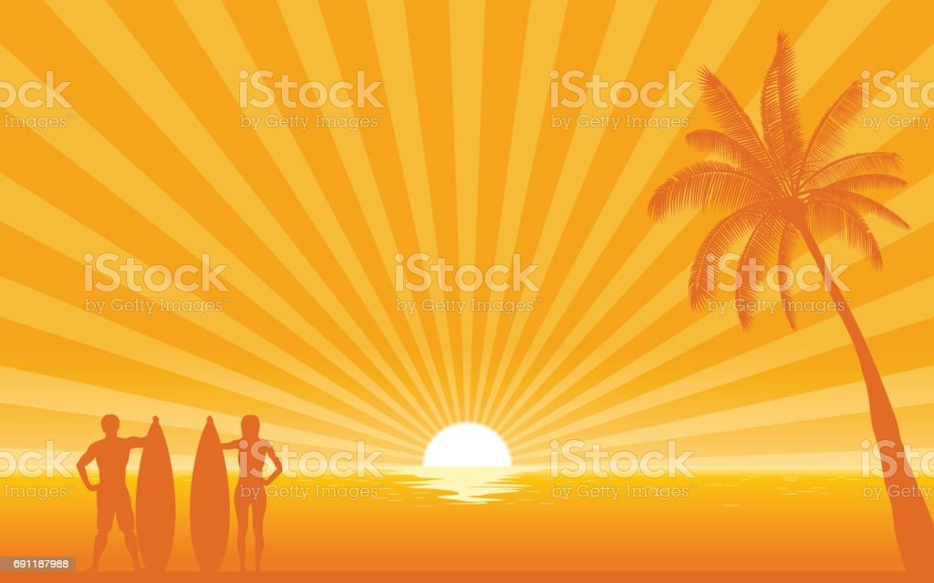 Silhouette surfer carrying surfboard on beach with sun shine ray background vector art illustration