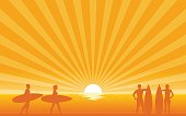 Silhouette surfer carrying surfboard on beach with sun shine ray background