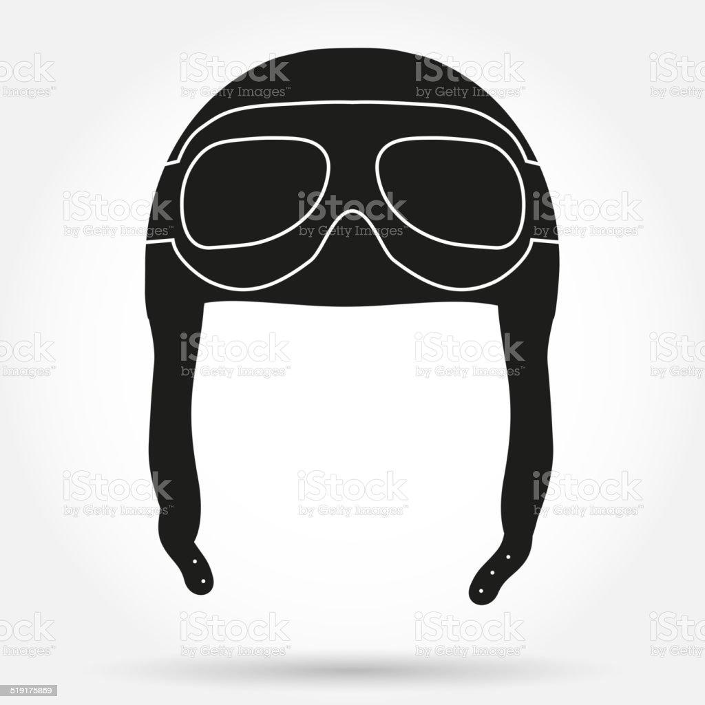 Silhouette aviateur symbole ofRetro casque pilote avec des lunettes de ski.  silhouette aviateur symbole ofretro f8d061a31dd9