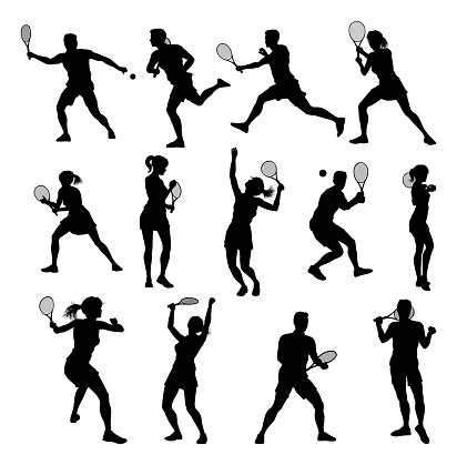 Silhouette Tennis Players Sports People Set