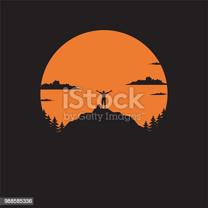 Silhouette the man of mountain on the sun, Man standing on mountain illustration vector flat