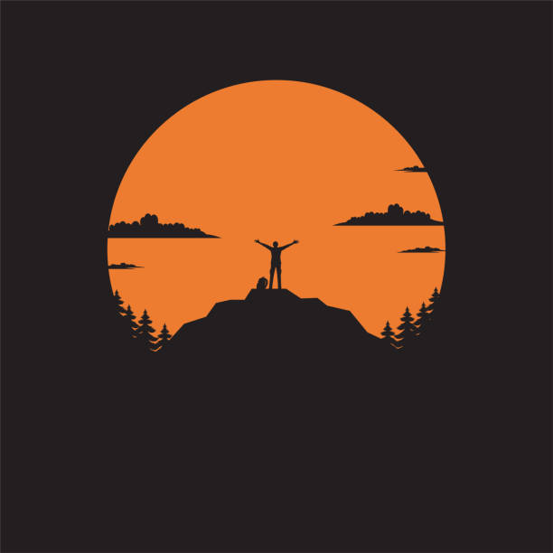 Silhouette the man of mountain on the sun Silhouette the man of mountain on the sun, Man standing on mountain illustration vector flat adventure silhouettes stock illustrations
