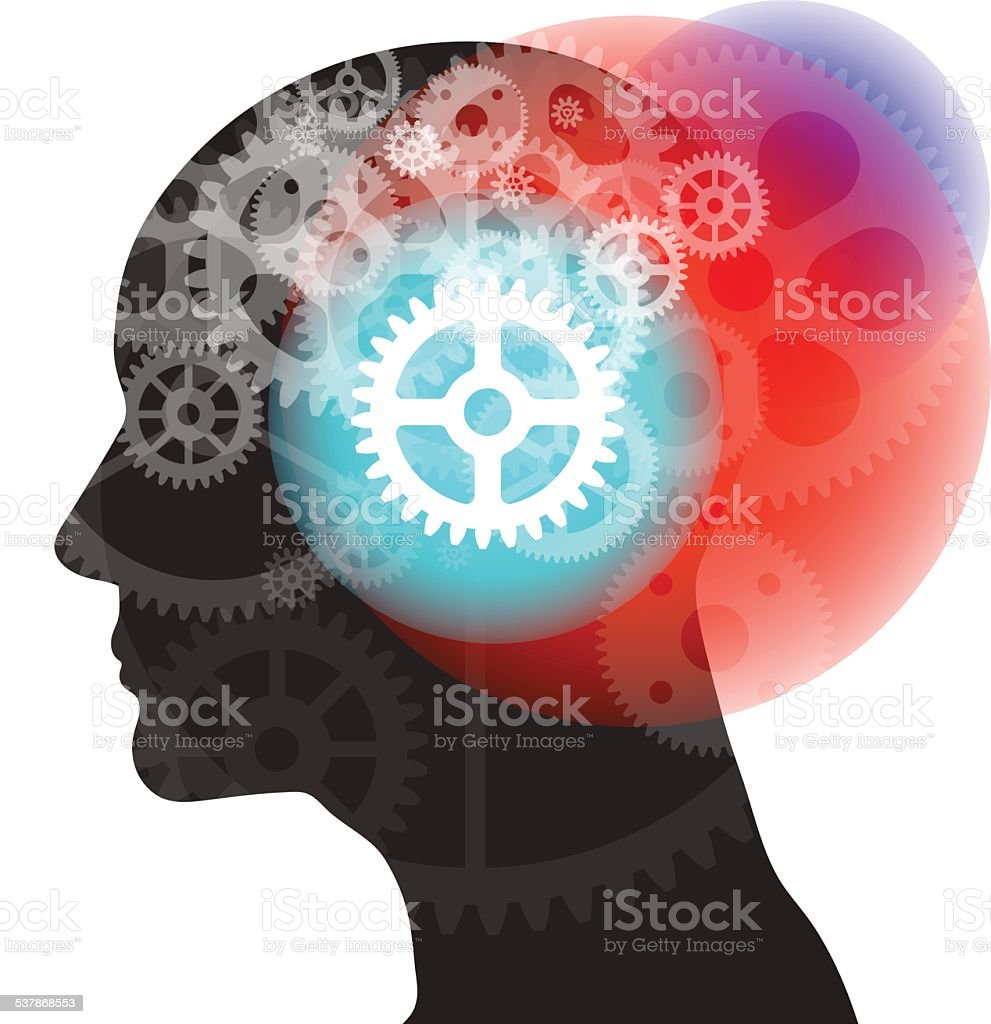 Silhouette Thought Gears vector art illustration