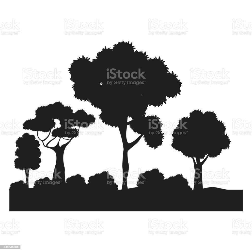 silhouette tree different nature foliage vector art illustration