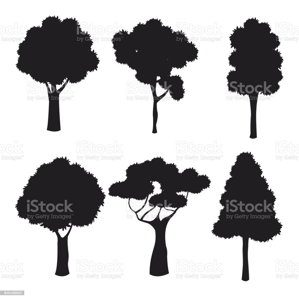 silhouette tree different nature trunk vector art illustration