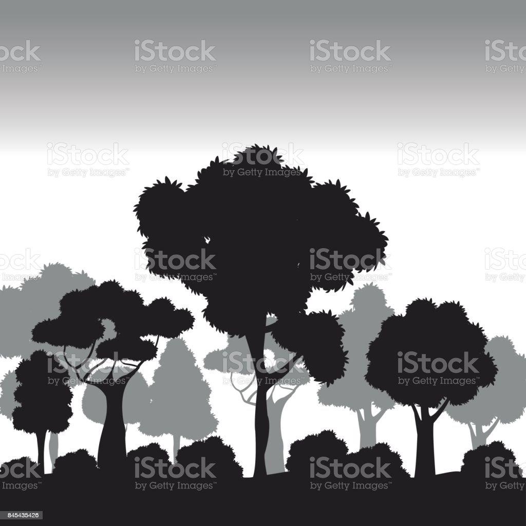 silhouette tree different nature vector art illustration