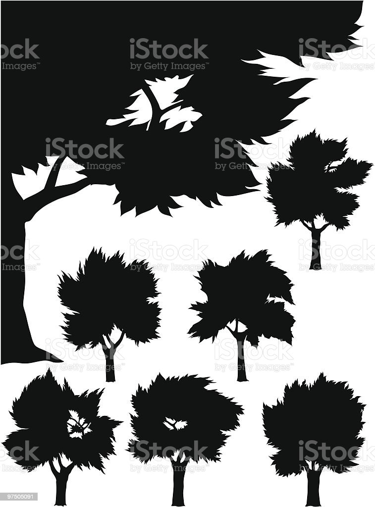 Silhouette Trees royalty-free silhouette trees stock vector art & more images of black color