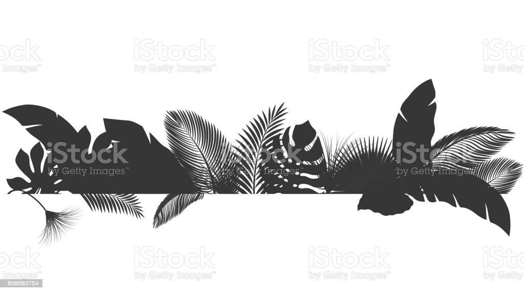 Siluet Tropikal Yaprak Doğa Kavramı Yaz Ve Tatil Için Uygun Vektör